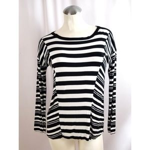 Cable & Gauge Size XS Top Striped Black Off White
